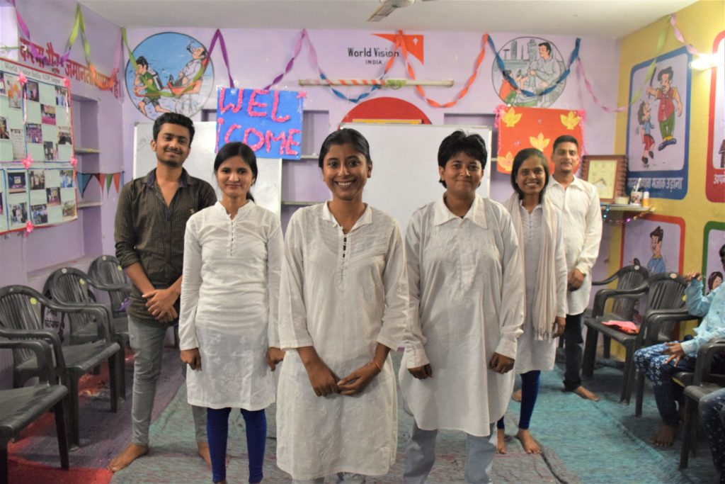 A few members of the Udaan youth empowerment group. Right to left: Sameer Khan, Komal Meghwal, Anjali Meena, Salma Banu, Shibba Khan,  Rizwan Khan. (Photo by Neola D'Souza, World Vision)