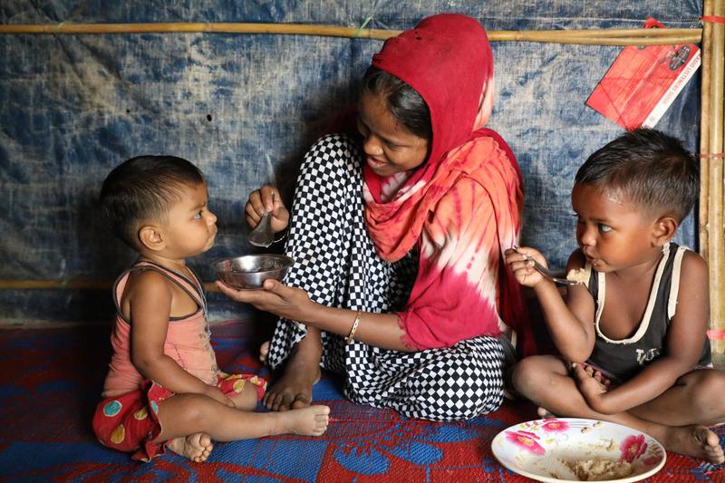 Monira and her children receiving support from a malnutrition project run by World Vision and World Food Programme.  Photo credit: ©2019 World Vision, Himaloy Joseph Mree