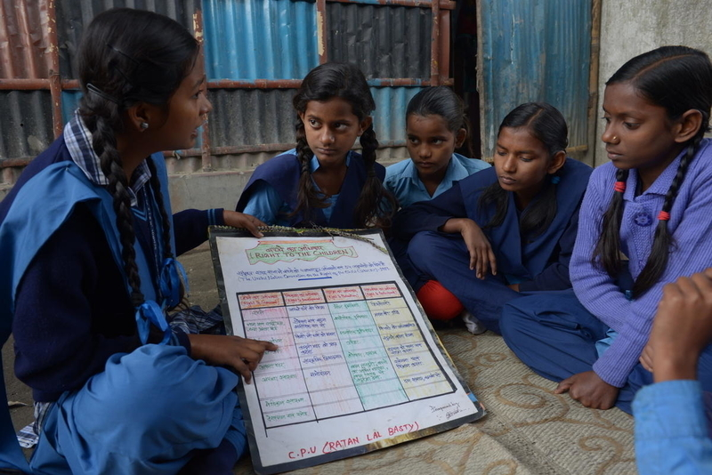 14-year-old Hina training other children in her community in India about how children can protect themselves from possible danger.  Photo credit: ©2016 World Vision, Annila Harris