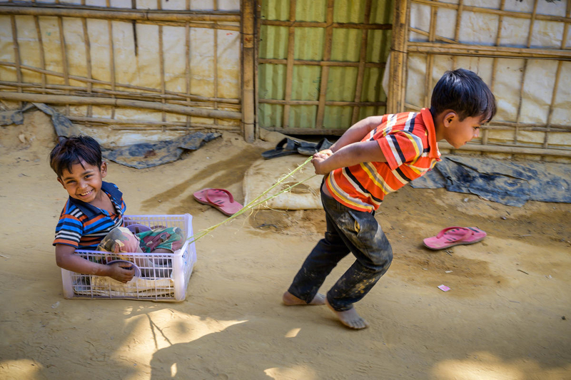 Boys play in Rohingya Refugee Camp in Bangladesh