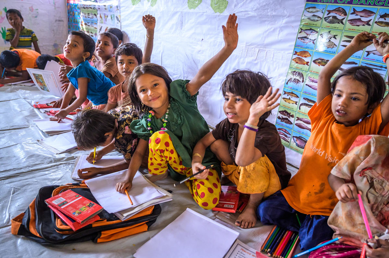 Jannatul loves coloring at the Child-Friendly Space near her shelter in the refugee camps.
