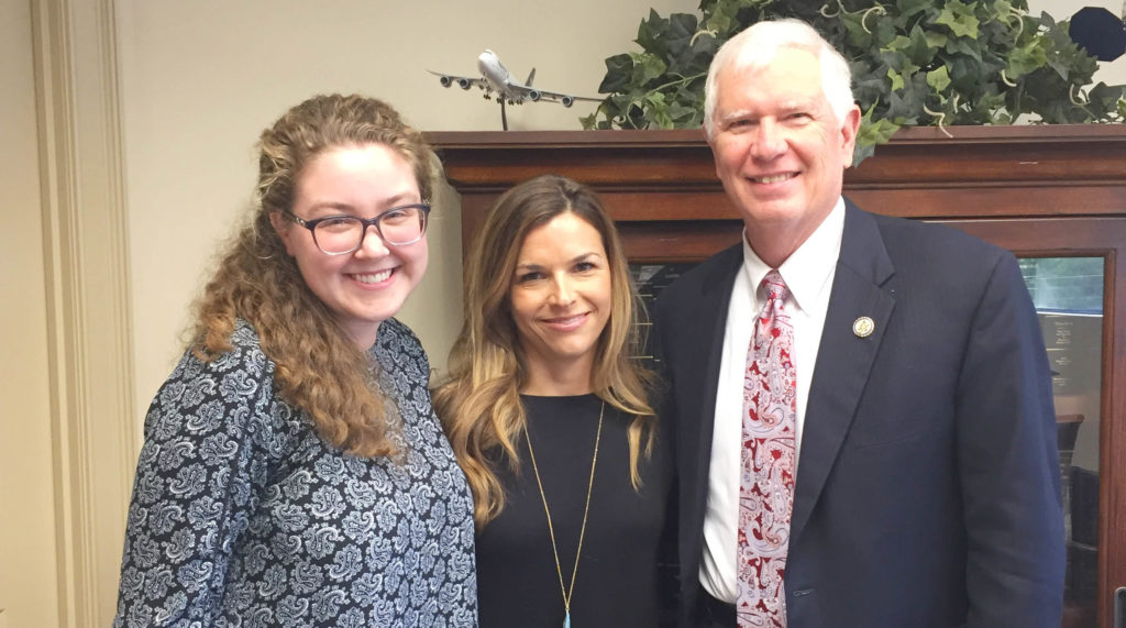 Becca A. (middle) and World Vision staff member Cassie R. (left) meet with Rep. Mo Brooks to ask for strong support for the Global Fund.