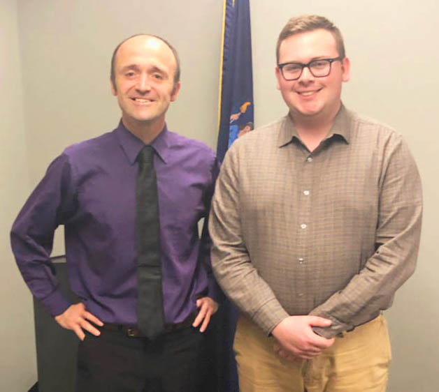 Volunteer Advocate Sean F. and staff member Tom Haag meet regarding Central America funding at Rep. John Katko's office.