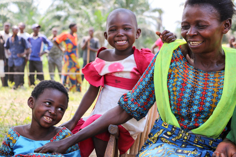 Displaced family in the DRC