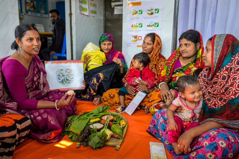 Mothers in Bangladesh learn about nutrition