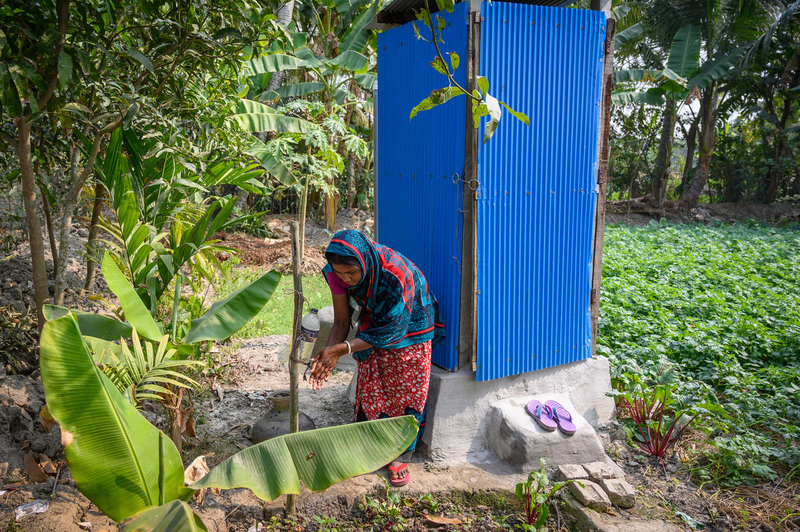 new latrine and hand washing station