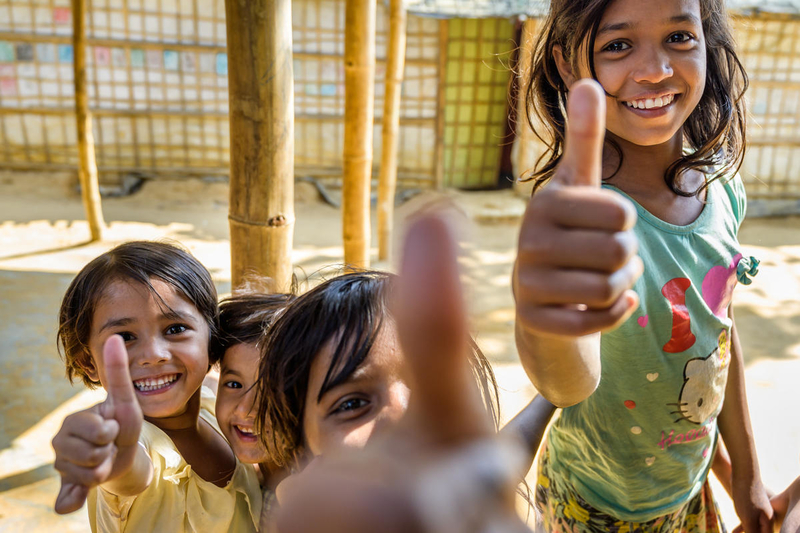 Children playing in Rohingya refugee camp.