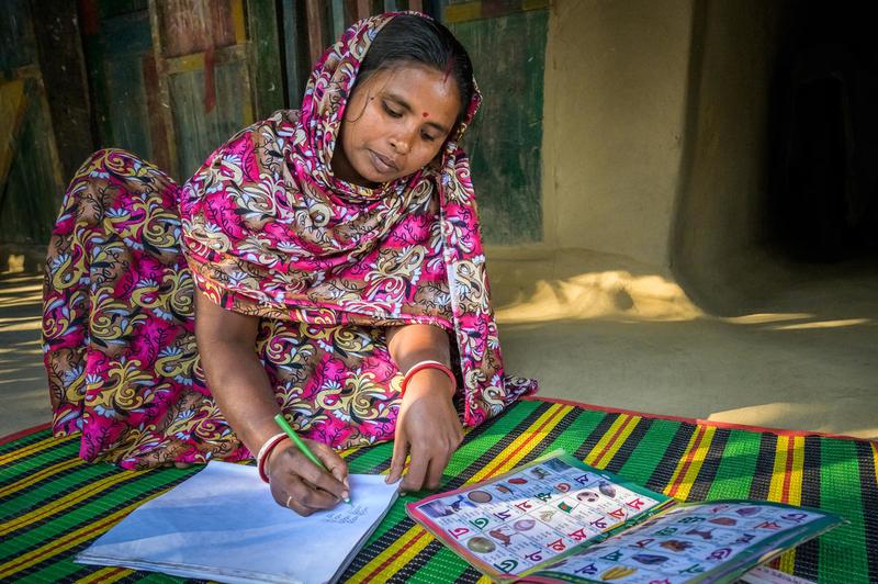 Shabitra practices literacy skills