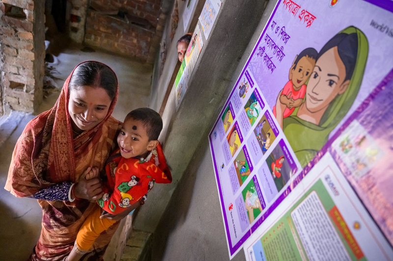 Maternal health poster in Tumpa's home