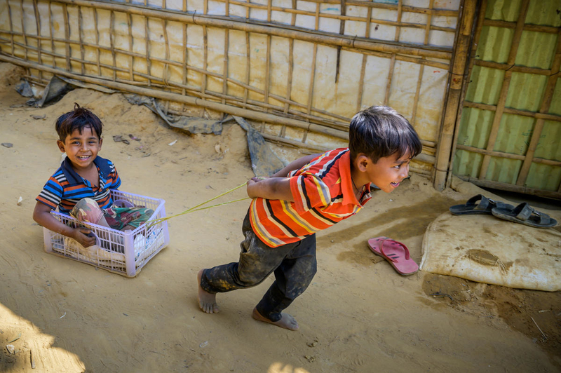 Two boys playing in Rohingya refugee camp