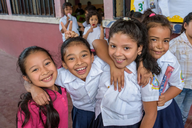 Girls at a  school in Honduras.