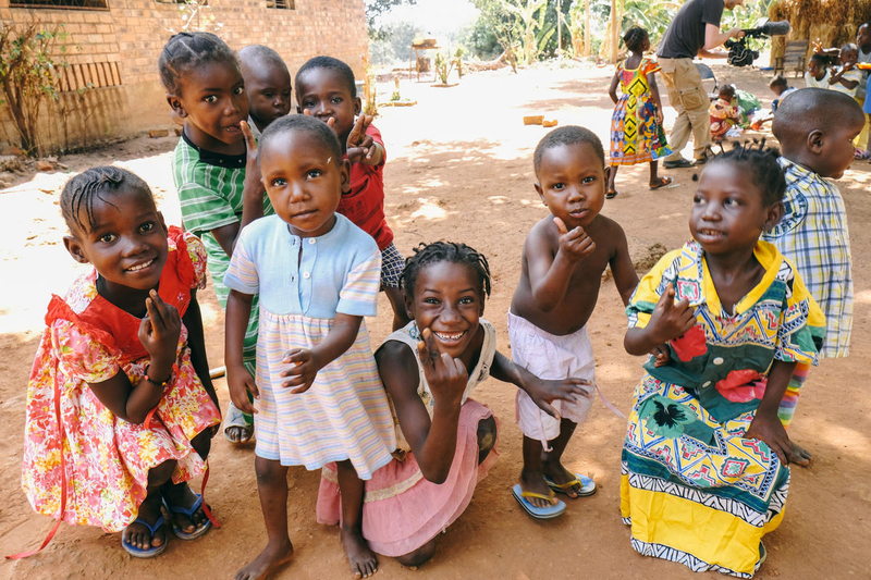 Kids in the Central African Republic celebrating
