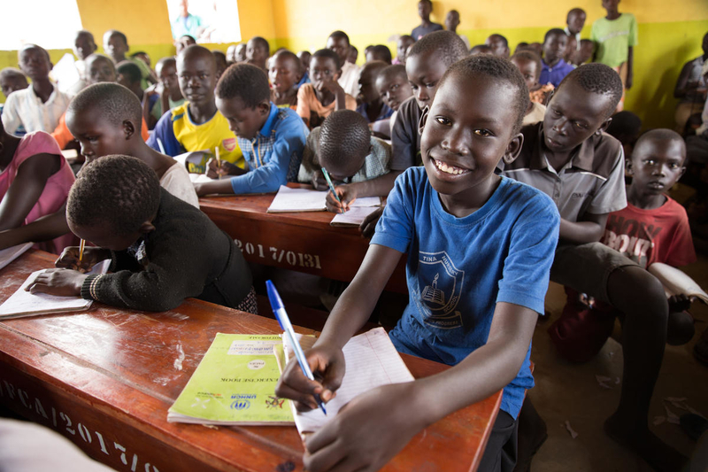 Refugee children getting an education in Uganda