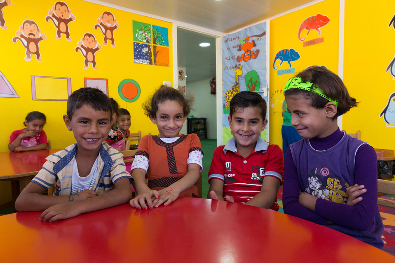 Refugee kids in classroom
