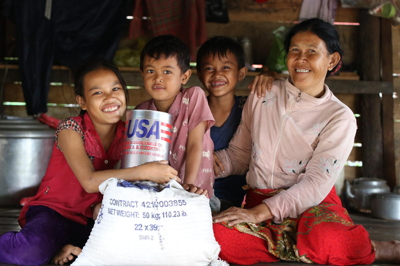 Family in Cambodia with U.S. food relief