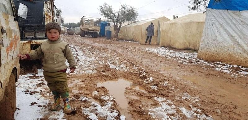 Boy in Syrian refugee camp
