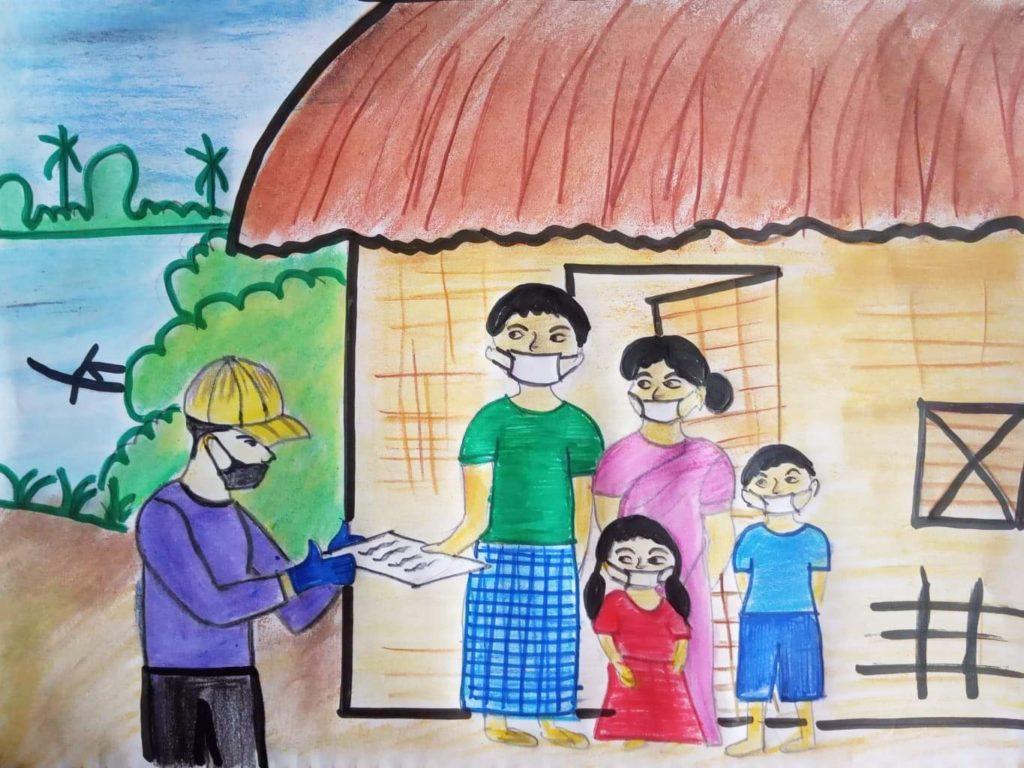 child art depicting family in masks