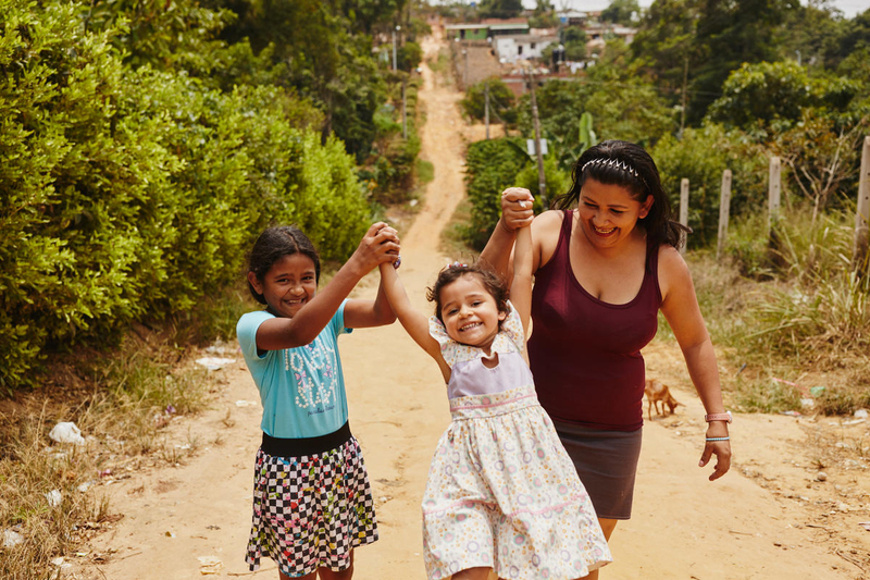 Family in Colombia plays together