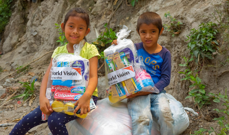 Kids in Honduras receive aid supplies
