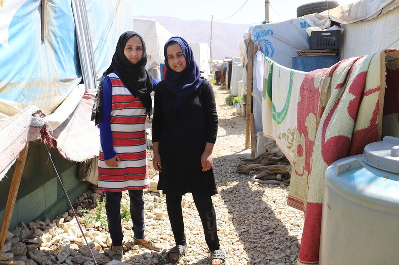 Child marriage is a risk for refugee girls like the two pictured here
