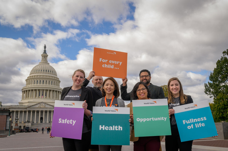 World Vision Advocacy volunteers in front of U.S. Capitol building