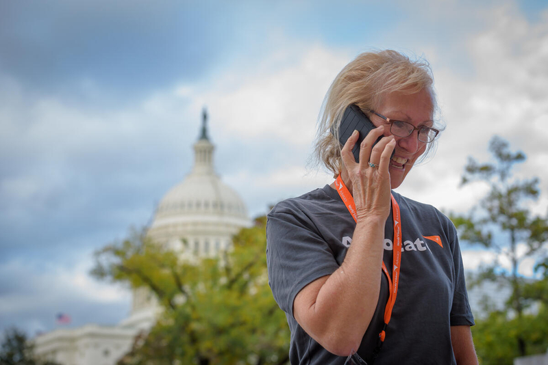 World Vision advocacy volunteer in front of Capitol building
