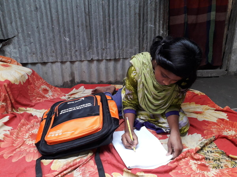 As an effect of the pandemic, one girl studies at home