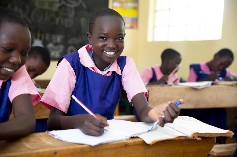 Young Kenyan girls in classroom